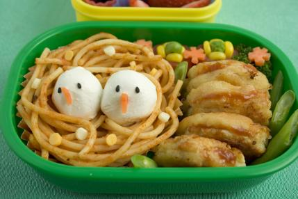 Bento Designs Can Range From Something Fairly Simple Such As The Design Above With Two Little Steamed Buns Atop A Pile Of Noodles To Represent