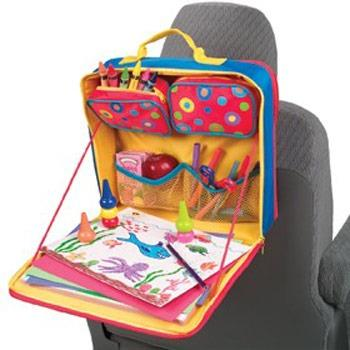 to keep kids busy in the backseat the car valet is a travel arts and crafts kit attaches to the back of the front seat store crayons and markers in the