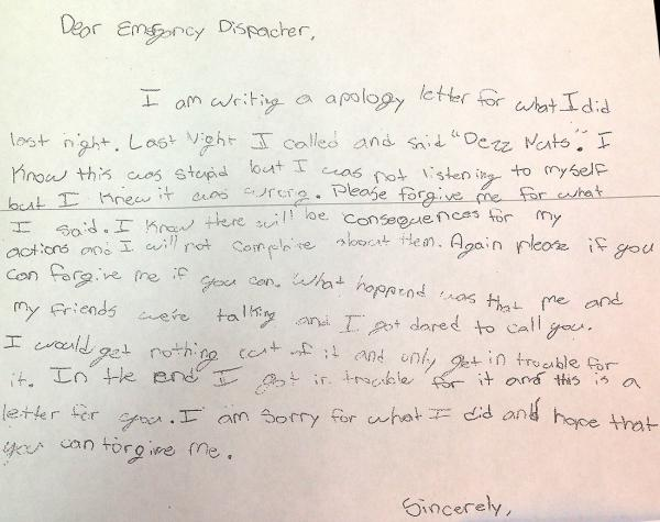 Parents Make SixthGrader Write Apology to 911 Dispatcher for Prank