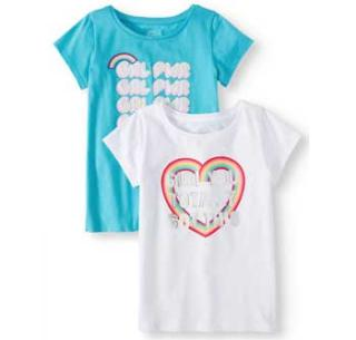 Wonder Nation Girls Graphic Tees for Spring