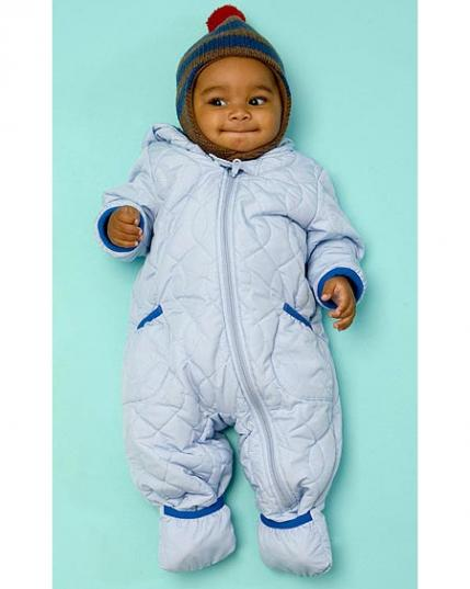 a4dea4bba Bundle your baby up in a nylon-and-fleece snowsuit, $40, Uniqlo; 877-4- UNIQLO. Fleece-lined hat has a stay-put chin strap. $25 (with mittens, not  shown.