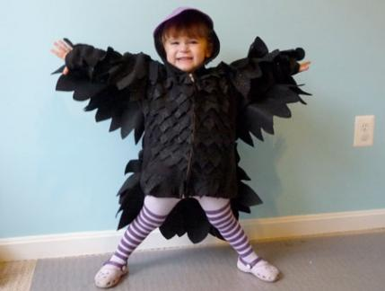 we are orginally from maryland and love the baltimore ravens and edgar allen poe so we decided to make a raven costume for our 2 year old