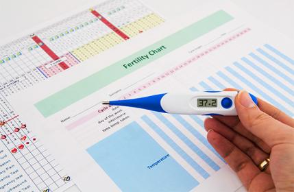 An ovulation calendar uses daily body temperature readings from a thermometer to predict conception windows