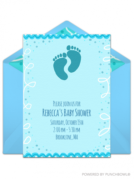 Come One All It S Time To Gather Around And Celebrate The Newest Addition Tiny Footprints On This Y Pink Digital Invite Are Too Cute