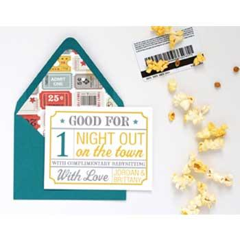New Parents Gifts Customized Date Night Gift Card