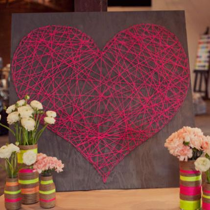 Valentine's Day Craft diy string heart