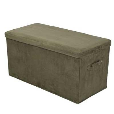 Storage bench in sage green