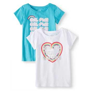 e5660ef98a40 Wonder Nation Girls Blue nad White T-Shirts with GRL Power, Heart and  Rainbow