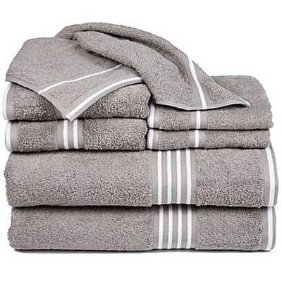 Set of 8 gray bath towels, hand towels, and wash cloths