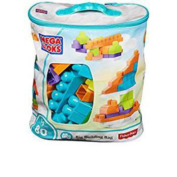 Best Gifts for 1-Year-Olds Mega Bloks Big Building Bag, Trendy (80 Piece)
