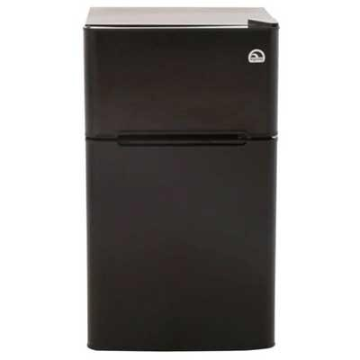 Black mini fridge with freezer