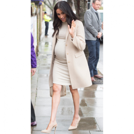 Meghan Markle Maternity Cream Dress