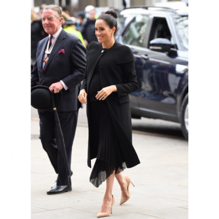 Meghan Markle Maternity Black Dress and Coat