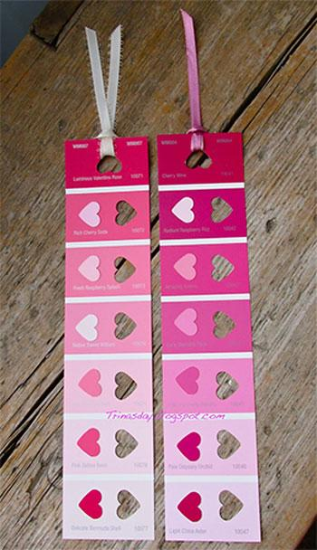 Valentine's Day Craft paint swatch bookmark