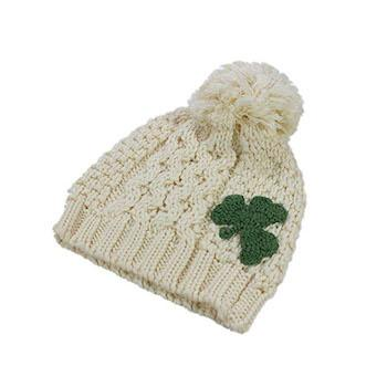 St. Patrick's Day Outfits for Baby Patrick Francis Traditional Craft Irish Celtic Aran Knit Kids Bobble Hat with Shamrock