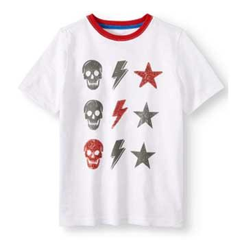 055a1ab2daeb Wonder Nation Boys Sequin Short Sleeve Graphic Tee with Skulls, Lightning  Bolts and Stars
