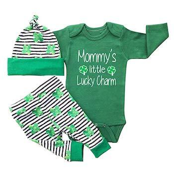 St. Patrick's Day Outfits for Baby Rutoe Lucky Charm Romper Four-Leaf Clover Set