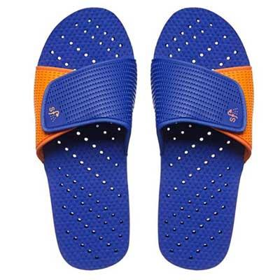 Blue and orange slide-style shower shoes