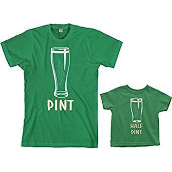 St. Patrick's Day Outfits for Baby Threadrock Pint & Half Pint Matching Shirt Set