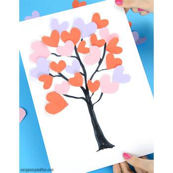 Valentine's Day Craft Tree with Paper Hearts