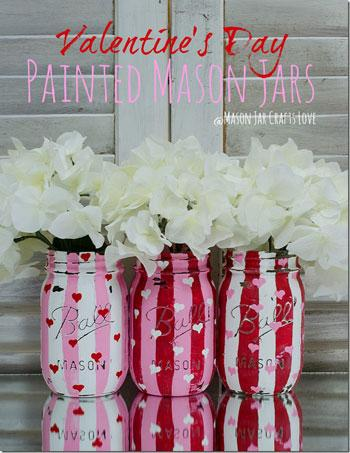 Valentine's Day Craft painted mason jars