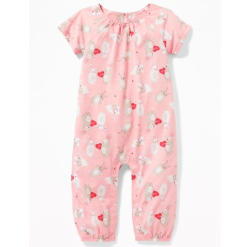 Old Navy Baby Girl Valentine-Print Raglan One-Piece
