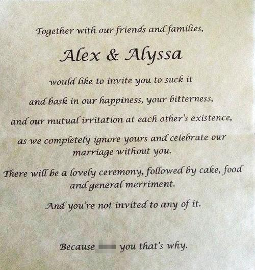 Daughter Bans Parents from Her Wedding with Scathing Faux Invite